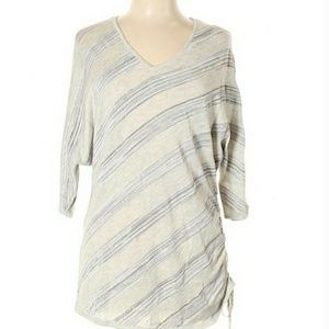 Lafayette 148 Light Sweater/Top Gry/Wht Size L NWT